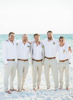 White and taupe perfect attire for the groom's part for your beach wedding