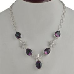 MYSTIC TOPAZ 925 SOLID STERLING SILVER NEW STYLE FANCY NECKLACE 27.00g NK0060 #Handmade #NECKLACE