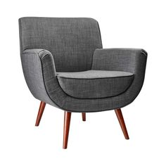 "Give your living space, work space, or ""settling in with tea or a cocktail"" space a sumptuous makeover with this mod chair. The u-shaped design, in classic gray with walnut wood legs, makes everything ... Find the Scoop Chair, as seen in the Mid-Century Rides the French New Wave Collection at http://dotandbo.com/collections/mid-century-rides-the-french-new-wave?utm_source=pinterest"
