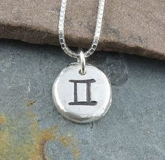 Gemini Necklace,Organic Rustic Recycled Sterling Silver Zodiac Jewelry/FREE SHIPPING