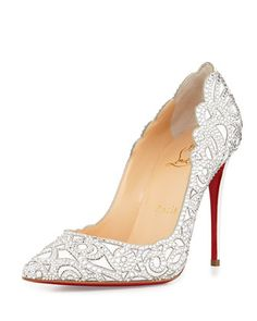 fc027fab76c Christian Louboutin Top Vague Scalloped Crystal Red Sole Pump