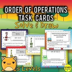 Engaging Order of Operations practice with Solve & Draw task cards! Student solve the scaffolded order of operations problems and then add to the drawing based on their answer.