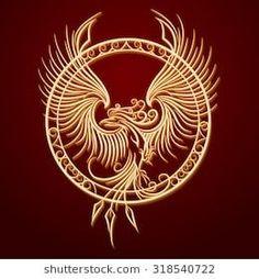 Phoenix Emblem in Circle. Phoenix Bird with rising wings in a circle. Phoenix Artwork, Phoenix Images, Small Phoenix Tattoos, Phoenix Tattoo Design, Bird Design, Design Art, Body Art Tattoos, Tribal Tattoos, Tatoos