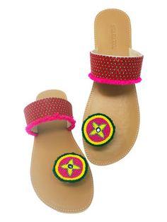 ae918be66ae90c Pink Tan Beads Leatherette Paduka Fashion Flats