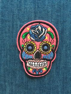 Patches, Couture, Rose, Accessories, Day Of The Dead, Death, Skull, Pattern, Pink