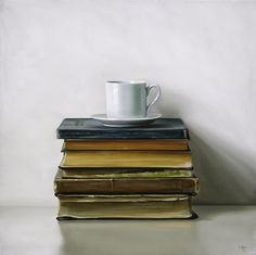 "Espresso Cup & Antique Books / 18"" x 18"" / Oil on Canvas / Christopher Stott"