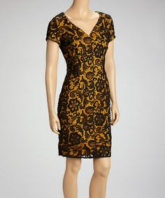 Take a look at this Mustard & Black Lace Overlay V-Neck Sheath Dress by Adore on #zulily today! These fashions seem to talk to you.
