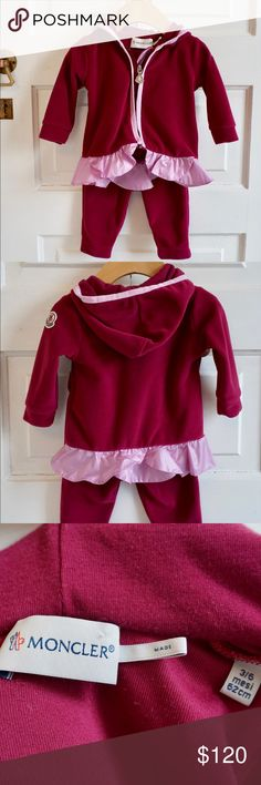 Moncler Fleece zip up ruffle hoodie & legging set Gorgeous like new Moncler baby girl deep red super soft zip up fleece hoodie and legging set. Moncler logo patch on sleeve of hoodie. Leggings have elastic waist. Moncler Matching Sets