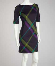Take a look at this Navy & Purple Plaid Sheath Dress by Jessica Howard on #zulily today!