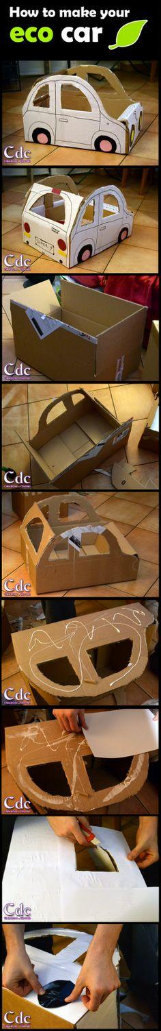 una macchina per giocare da uno scatolone - How to make your eco car | Creazioni del Centro