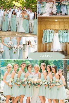 Long Chiffon Mint Bridesmaid Dresses 2015 trends