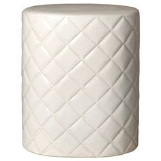 Quilted Garden Stool in White design by Emissary