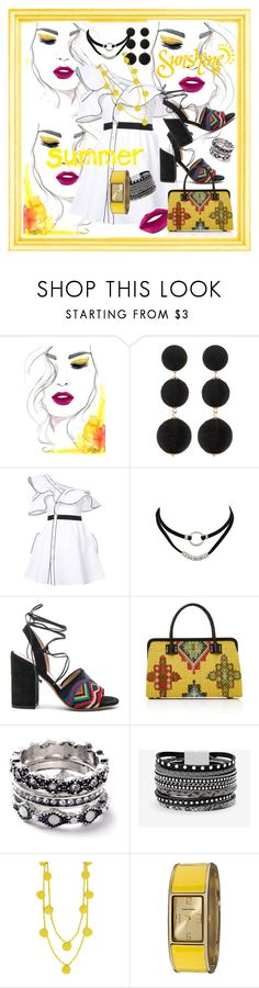 """""""Summer Sunshine"""" by kareng-357 ❤ liked on Polyvore featuring Cara Accessories, self-portrait, Valentino, Marian Paquette, WithChic, White House Black Market, Humble Chic and Vernier"""