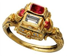 Ruby and Diamond Gimmel Ring, dated 16th – early 17th century, features two stones and two hoops as a reference to two lovers.