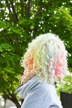 Super pretty, pastel rainbow curls.