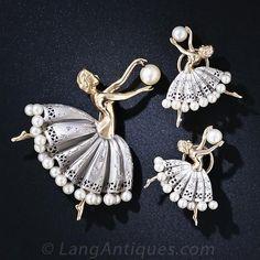 Vintage Dancer Brooch and Earrings - Lang Antiques