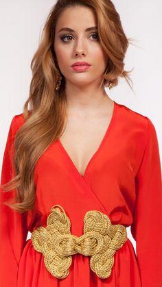 VERDEMINT - Maxi cinturón de cordón de seda dorado ajustable - Alquiler de cinturones y accesorios online - Invitada perfecta boda - Dresseos