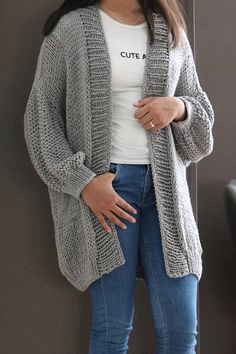 Items similar to Chunky Knit Merino Wool Cardigan, Loose Knit, Ov Grey Knit Cardigan, Crochet Cardigan, Cardigan Sweaters For Women, Oversized Cardigan, Stylish Coat, Knitted Coat, Knit Fashion, Baby Knitting Patterns, Creations