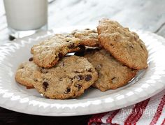 Best Low-fat Chocolate Chip Cookies Ever -  I didn't think it possible to make a low-fat chocolate chip cookie that was soft and chewy in the center with just the right amount of crunch on the edges, and made with half whole wheat flour and only two tablespoons of butter in the entire batch!