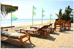 Beach loungers and view at Coral Blue Oriental Beach Villas & Suites on Bantayan Island, Cebu, the Philippines Bantayan Island, Beach Villa, Coral Blue, Cebu, Villas, Resorts, Sun Lounger, Philippines, Oriental