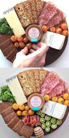 How to make the ultimate DIY cheese platter or charcuterie board! Easy to assemble and full of delicious ingredients and ideas like meats, cheeses, fresh kiwi, and of course our Aroeira - Organic Braz Meat Cheese Platters, Party Food Platters, Charcuterie And Cheese Board, Charcuterie Platter, Meat And Cheese, Wine Cheese, Cheese Plates, Cheese Boards, Simple Cheese Platter