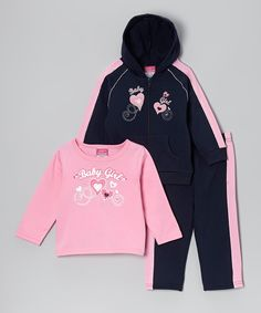 Take a look at this Navy & Pink 'Baby Girl' Fleece Hoodie Set - Infant & Toddler on zulily today!