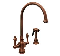 WHKSDLV3-8101 8 1/8″ Vintage III dual handle faucet with long gooseneck swivel spout, lever handles and solid brass side spray « Whitehaus C...