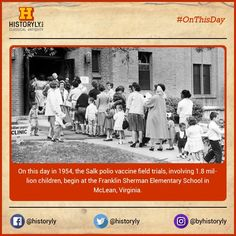 #OnThisDay 1954 Polio vaccine trials begin. #History #EndPolio #DidYouKnow