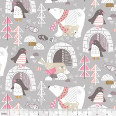 Winter Wonderland by Blend Fabrics - 1/2 Yard -  Maude Asbury - Penguin Fabric - Quilt Fabric - Polar Bears - Holidays Pink and Gray Fabric by Owlanddrum on Etsy