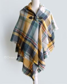 Grace & Lace Blanket Scarf/Toggle Poncho™ in Yellow/Navy