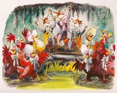 Concept art by Marc Davis for various Disneyland attractions (in random order): America Sings, Pirates of the Caribbean, Enchanted Snow Palace, It's a Small World, and Haunted Mansion. Disney Cruise, Disney Parks, Walt Disney, Disney Cartoons, Disney Movies, Disney Characters, America Sings, Marc Davis, Splash Mountain