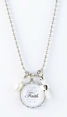 Silver 'Walk By Faith' Charm Pendant Necklace