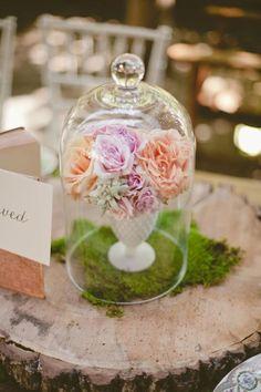 vintage milk glass centerpiece with bell jar cover - #unique wedding centerpiece idea - #vintage love it!