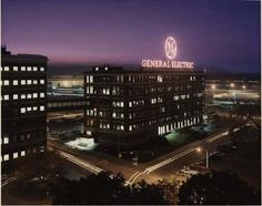 GE Schenectady entrance at dusk from 1980s.