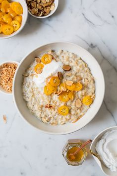 quaker oatmeal with poached kumquats, coconut cream and almonds! / how do you bring your best bowl? #bringyourbestbowl #ad