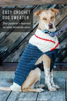 crochet Ready to Roam Dog Sweater free pattern - easy crochet dog-sweater pattern for beginners Crochet Dog Sweater Free Pattern, Crochet Dog Patterns, Sweater Patterns, Crochet Tutorials, Large Dog Sweaters, Cat Sweaters, Crochet Dog Clothes, Pet Clothes, Dog Clothing