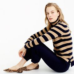 Italian Cashmere Ribbed Turtleneck In Stripe : Women's Cashmere Sweaters Stylish Outfits, Winter Outfits, Cute Outfits, Winter Clothes, Italian Fashion, Timeless Fashion, Work Fashion, Daily Fashion, Style Fashion