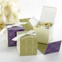 Ivory favor boxes and reversible wraps with purple damask or taupe geometri Elegant Wedding Favors, Wedding Favors Cheap, Wedding Favor Boxes, Wedding Ideas, Fall Wedding, Wedding Reception, Personalised Box, Personalized Favors, Wedding Party Games