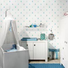 Mustertapete Für Kinderzimmer   No.YK62 Anker Türkis   Vliestapete Quadrat
