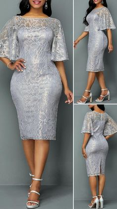 Latest African Fashion Dresses, African Dresses For Women, Lace Dress With Sleeves, Lace Sheath Dress, Elegant Dresses, Beautiful Dresses, Pretty Dresses, Sexy Dresses, Casual Dresses