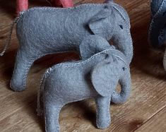 Natural toys wool felt animals role play Waldorf eco by Felthorses Toys For Girls, Gifts For Boys, Mother And Baby Elephant, Natural Toys, Colorful Animals, Felt Toys, Felt Art, Felt Animals, Felt Crafts