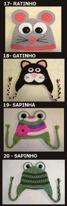 """.Toucas em crochê """"animais"""", para bebês"""