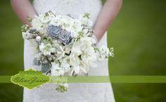 white bridal bouquet with succulents | floral design: Le Jardin