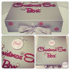 Christmas Eve box Silver with personalised bauble By Epiphany Designs NI Diy Christmas Eve Box, Christmas Stall Ideas, Christmas Fayre Ideas, Xmas Eve Boxes, Christmas Party Games, 1st Christmas, Christmas Design, Christmas Traditions, Christmas Holidays