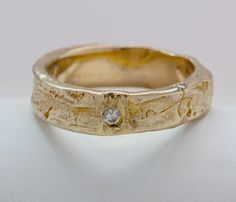 14k Gold Diamond set Tree Bark Ring sizes 4 to 11 made to order by billyblue22 on Etsy https://www.etsy.com/listing/152304291/14k-gold-diamond-set-tree-bark-ring