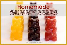 Healthy Snack Ideas - Homemade Gummy Bears – Here's a healthy snack idea - homemade gummy bears! They're delicious, easy to make, and - unlike nasty commercial bears - contain only healthy ingredients MY LIFE IS COMPLETE Real Food Recipes, Snack Recipes, Yummy Food, Healthy Recipes, Homemade Gummy Bears, Homemade Gummies, Snacks Homemade, Healthy Treats, School Snacks