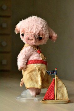 "Teddy Bear stile Artist viscose vintage OOAK pig ""Fluffy "" 8 inch handmade collectible jointed Teddy Bear piglet toy"