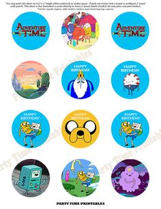 Adventure Time Printable Cupcake Topper - Party Printables - Adventure Time on Etsy, $5.00