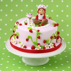 Minus the creepy figures on top, this could be a cute cake for a certain Strawberry Shortcake party I may have in my future......