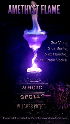 Amethyst Flame created by Brenda and Tami at the to celebrate the Flame Series at the request of Author Caris Roane. Amethyst Flame created by Brenda and Tami at the to celebrate the Flame Series at the request of Author Caris Roane. Halloween Cocktails, Holiday Drinks, Summer Drinks, Alcholic Halloween Drinks, Halloween Party, Disney Cocktails, Alcholic Drinks, Non Alcoholic Drinks, Liquor Drinks